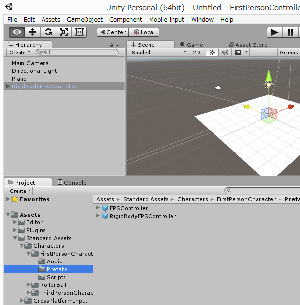 unity how to add first person controller